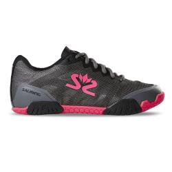 Squash Shoes - Salming Hawk Shoe Women GunMetal/Pink Launch