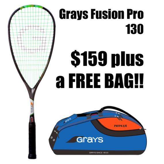 Squash Racquets - ONLINE ONLY Grays Fusion Pro 130 2019 and FREE BAG Blue